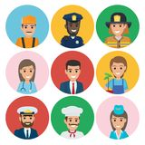 People of Different Professions Set of Round Icons. Professions web buttons vector illustrations. Plumber near policeman, firefighter with doctor, businessman Royalty Free Stock Image