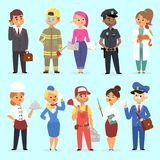 People different professions vector illustration. Success teamwork diversity human work lifestyle. Standing successful. Young professions policeman, doctor Stock Photo