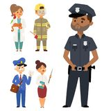 People different professions vector illustration. Success teamwork diversity human work lifestyle. Standing successful. Young person character in uniform Stock Image