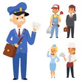 People different professions vector illustration. Success teamwork diversity human work lifestyle. Standing successful. Young person character in uniform Stock Photos