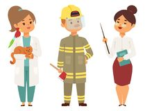 People different professions vector illustration. Success teamwork diversity human work lifestyle. Standing successful. Young person character in uniform Stock Photo