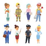 People different professions vector illustration. Success teamwork diversity human work lifestyle. Standing successful. Young person character in uniform Royalty Free Stock Image