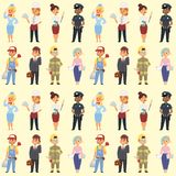 People different professions vector illustration. Success teamwork diversity human work lifestyle. Standing successful. Young person character in uniform Royalty Free Stock Photos