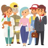 People different professions vector illustration. Success teamwork diversity human work lifestyle. Standing successful. Young person character in uniform Stock Images