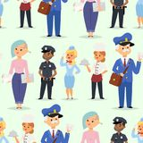 People different professions vector illustration. Success teamwork diversity human work lifestyle. Standing successful. Young person character in uniform Royalty Free Stock Photography