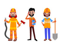 People different professions vector illustration. Success teamwork diversity human work lifestyle. Standing successful young person character in uniform Stock Photography