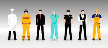 People of different professions in working clothes. In full growth stock illustration
