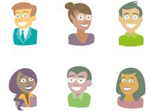 People of different races. Smiling. Bust. vector illustration