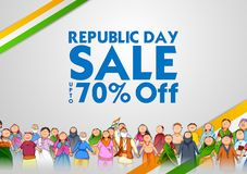 People of different religion showing Unity in Diversity on Happy Republic Day of India Sale Promotion Background. Illustration of people of different religion vector illustration