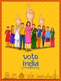 People of different religion showing voting finger for General Election of India stock illustration