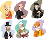 People of different religion in traditional clothing. Islam, judaism, buddhism, orthodox, catholic, hinduism illustration Stock Photo