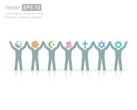 People of different religions. Religion vector symbols and characters. friendship and peace for different creeds Stock Images