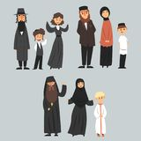 People of different religions in traditional clothes, Jewish, Muslim, Orthodox family vector Illustrations Stock Images