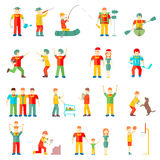 People in different situations friends family  couple  hobby  friendly relationship sport health. Illustration Stock Photo