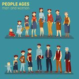 Men and women at different aging stages. People at different stages of aging, men and women generation of young kids or children, teenager and mature adult, old royalty free illustration