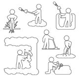 People digging, excavating or drilling thin line icon set. Vector outline icons. Eps10 Stock Photo