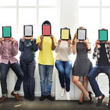 People Digital Tablet Networking Technology Copy Space Concept Stock Images
