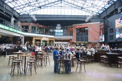 People dine inside Ballpark Village, Downtown St. Louis Royalty Free Stock Images