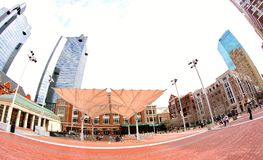 People Dine Under Sun Shades at Sundance Square, Fort Worth Texas Royalty Free Stock Images
