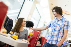 People in the diner. View of the people meeting in the diner Royalty Free Stock Images
