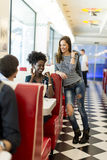 People in the diner. View of the people meeting in the diner Royalty Free Stock Photos