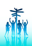 People and Directions. Illustration of young people standing next to a sign post Royalty Free Stock Images