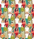People with disabilities big group color seamless pattern. People with disabilities color seamless pattern. Color vector illustration EPS8 vector illustration
