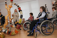People with disabilities at an exhibition Royalty Free Stock Photo