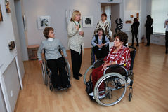 People with disabilities at an exhibition Stock Image