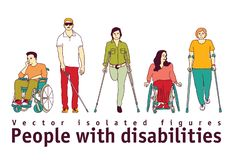 People with disabilities isolate objects on white. Color vector illustration EPS8 stock illustration
