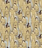 People with disabilities seamless pattern. Color vector illustration EPS8 vector illustration
