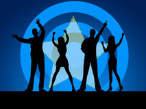 People Disco Indicates Silhouettes Friends And Outline Stock Images
