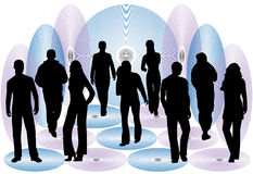 People and discs Stock Images