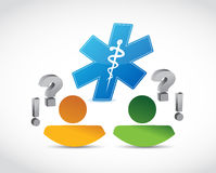 People discussion and medical symbol concept Stock Photos