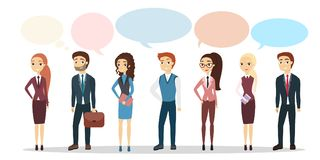 People on discussion. Set of people with speech bubbles Royalty Free Stock Photography