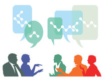 People discussing. Illustration of people taking part in discussions or exchanging ideas shown in colorful silhouettes gesturing with speech bubbles above Royalty Free Stock Photo