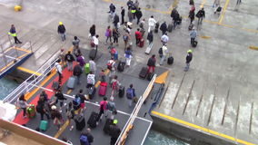People disembarking from the ferryboat stock video footage