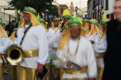 People disguised 4.- Brass band. These are people disguised during the Three Wise Men Parade Royalty Free Stock Photos