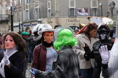 People disguised during Carnival of Limoux Royalty Free Stock Photo