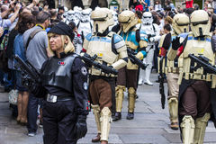 People disguised in Star Wars costumes Stock Photos