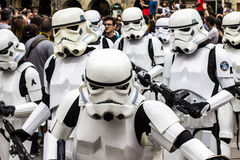 People disguised in Star Wars costumes Stock Photo