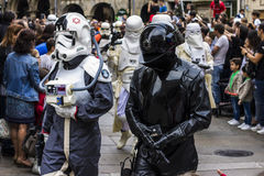 People disguised in Star Wars costumes Stock Photography