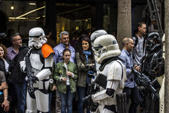 People disguised in Star Wars costumes Royalty Free Stock Photo