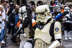People disguised in Star Wars costumes Stock Image