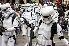People disguised in Star Wars costumes Royalty Free Stock Photos