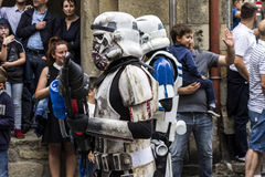 People disguised in Star Wars costumes Royalty Free Stock Photography
