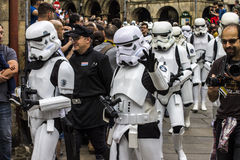 People disguised in Star Wars costumes Stock Images