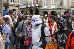 People disguised in Star Wars costumes Royalty Free Stock Image