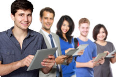 People in diverse ethnicity using modern gadget. Man using tablet pc. people in diverse ethnicity using modern gadget at the background Stock Photography