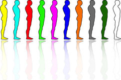 People diversity. The concept of diversity depicted through colorful human shapes Stock Image